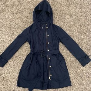 Jcrew navy belted and hooded mid length coat